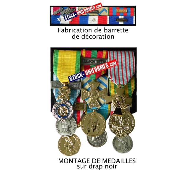 Fabrication de barrette de décoration sur drap noir - Montage de médailles sur drap noir