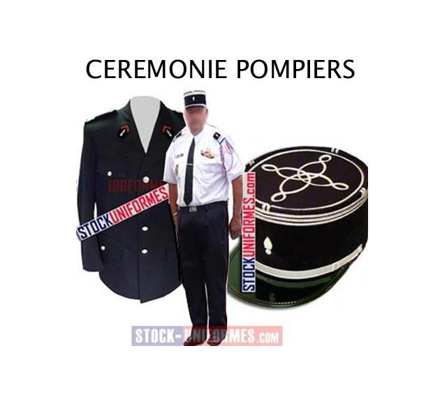 Uniforme cérémonie sapeurs pompiers - képi - vareuse - pantalon - chemise - chaussures - écussons -