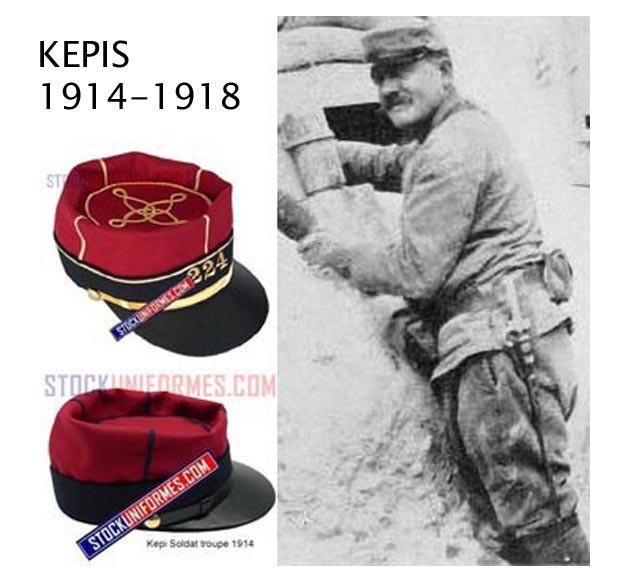 Reproduction képis 1914 1918 - choix de l'arme et du grade